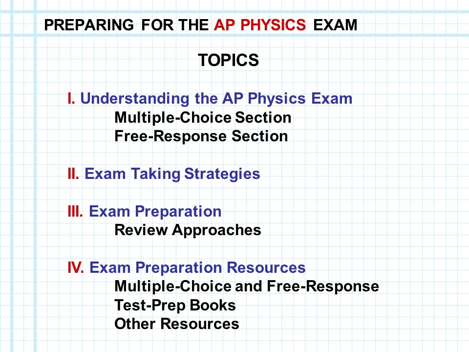 PREPARING FOR THE AP PHYSICS EXAM