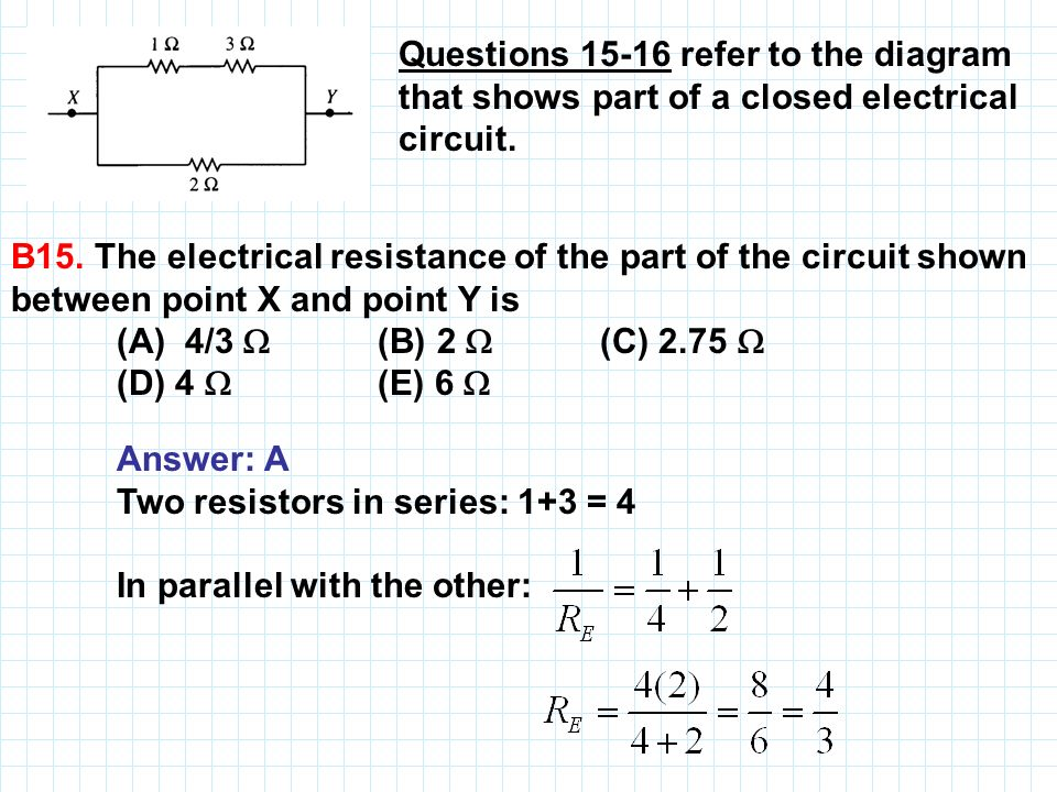 Questions 15‑16 refer to the diagram that shows part of a closed electrical circuit.