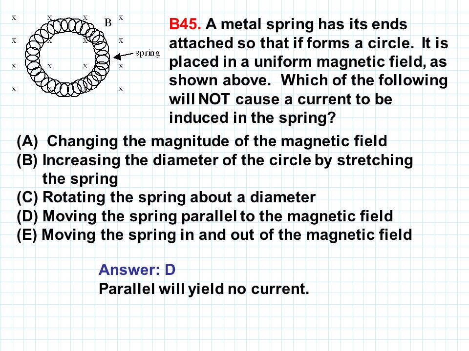 B45. A metal spring has its ends attached so that if forms a circle