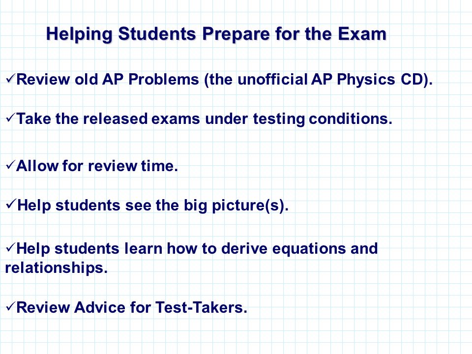 Helping Students Prepare for the Exam