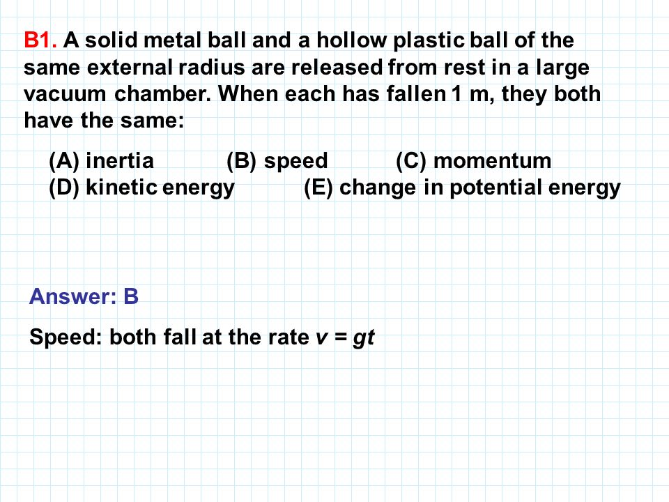 B1. A solid metal ball and a hollow plastic ball of the