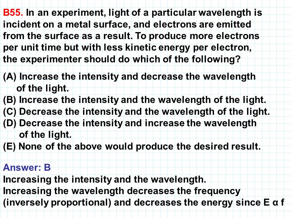 B55. In an experiment, light of a particular wavelength is