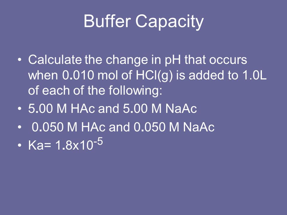 Buffer Capacity Calculate the change in pH that occurs when 0.010 mol of HCl(g) is added to 1.0L of each of the following: