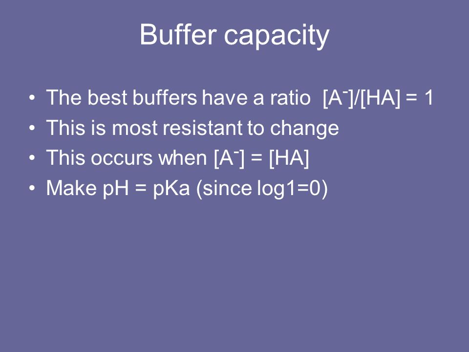 Buffer capacity The best buffers have a ratio [A-]/[HA] = 1