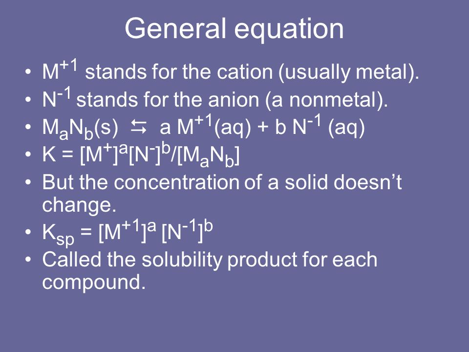 General equation M+1 stands for the cation (usually metal).