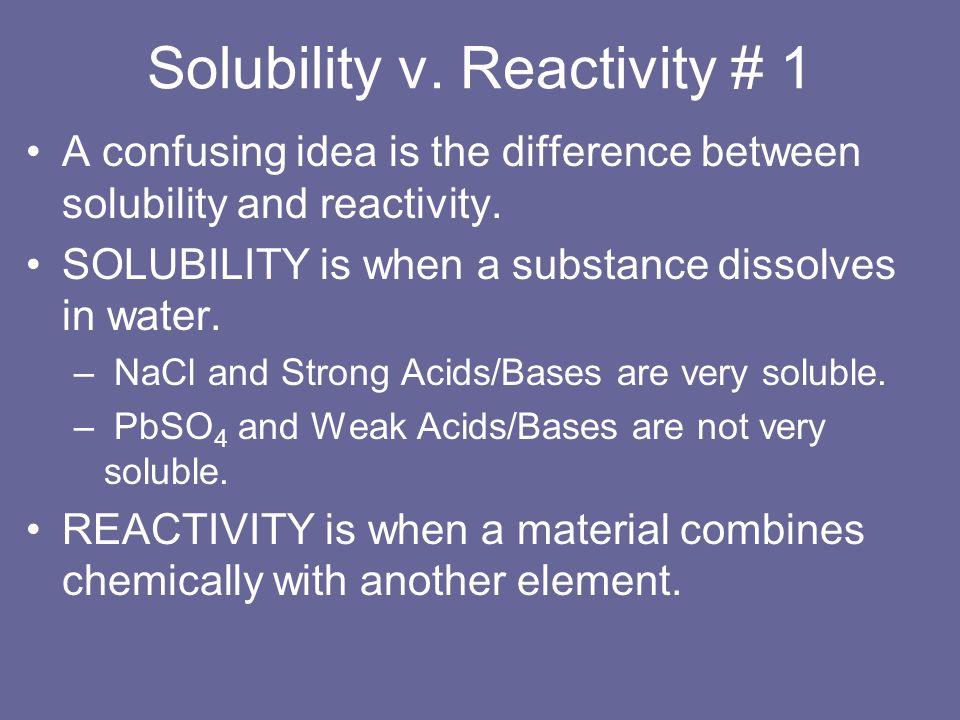 Solubility v. Reactivity # 1