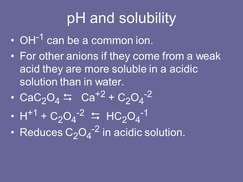 pH and solubility OH-1 can be a common ion.