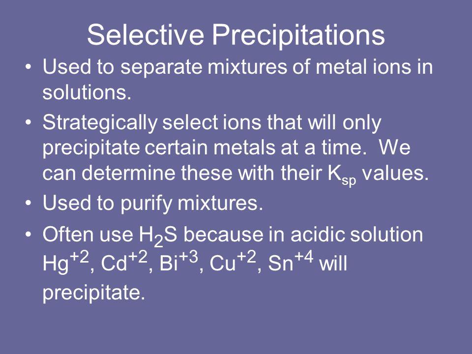 Selective Precipitations