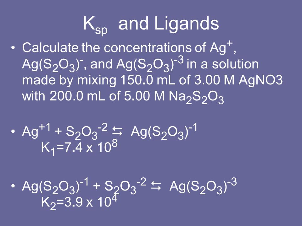 Ksp and Ligands
