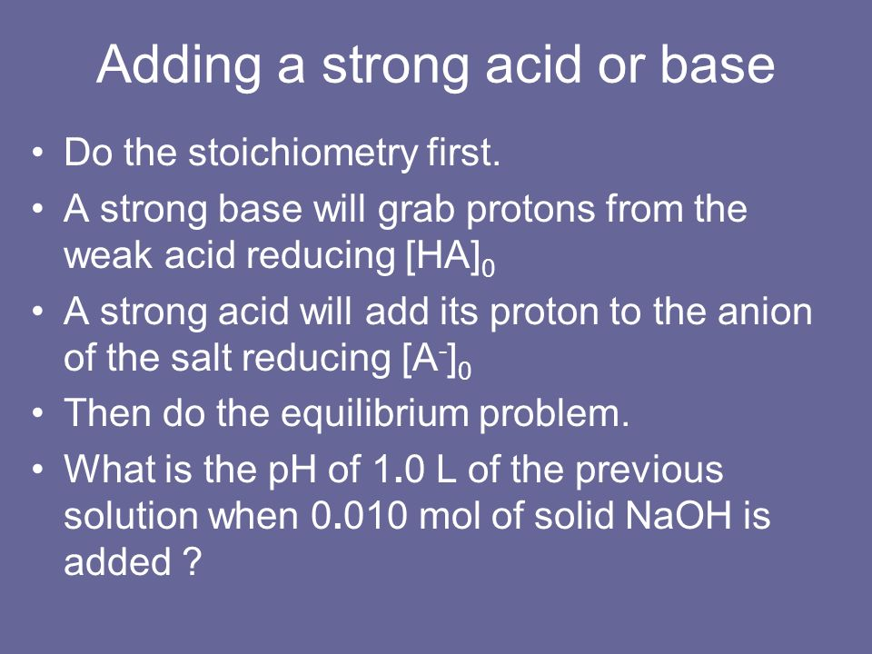 Adding a strong acid or base
