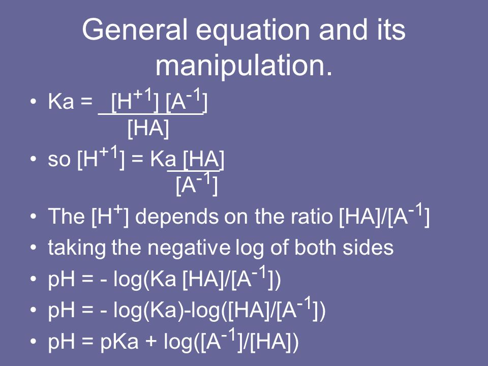General equation and its manipulation.
