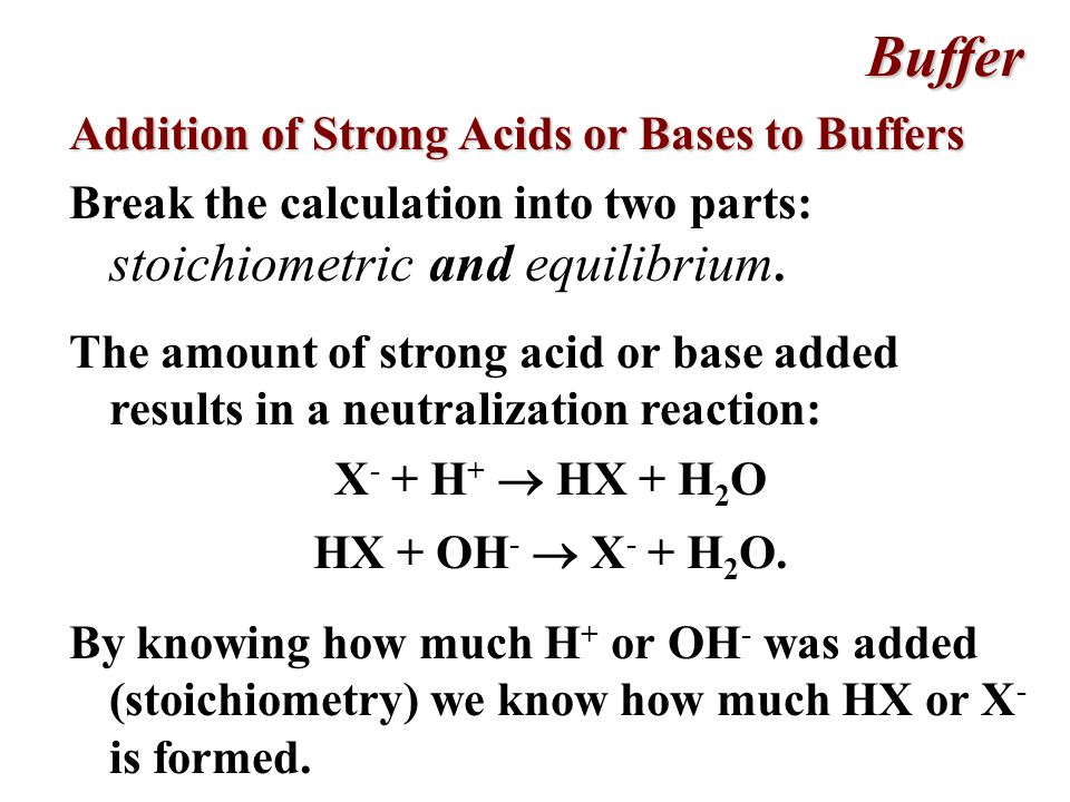 Buffer Addition of Strong Acids or Bases to Buffers