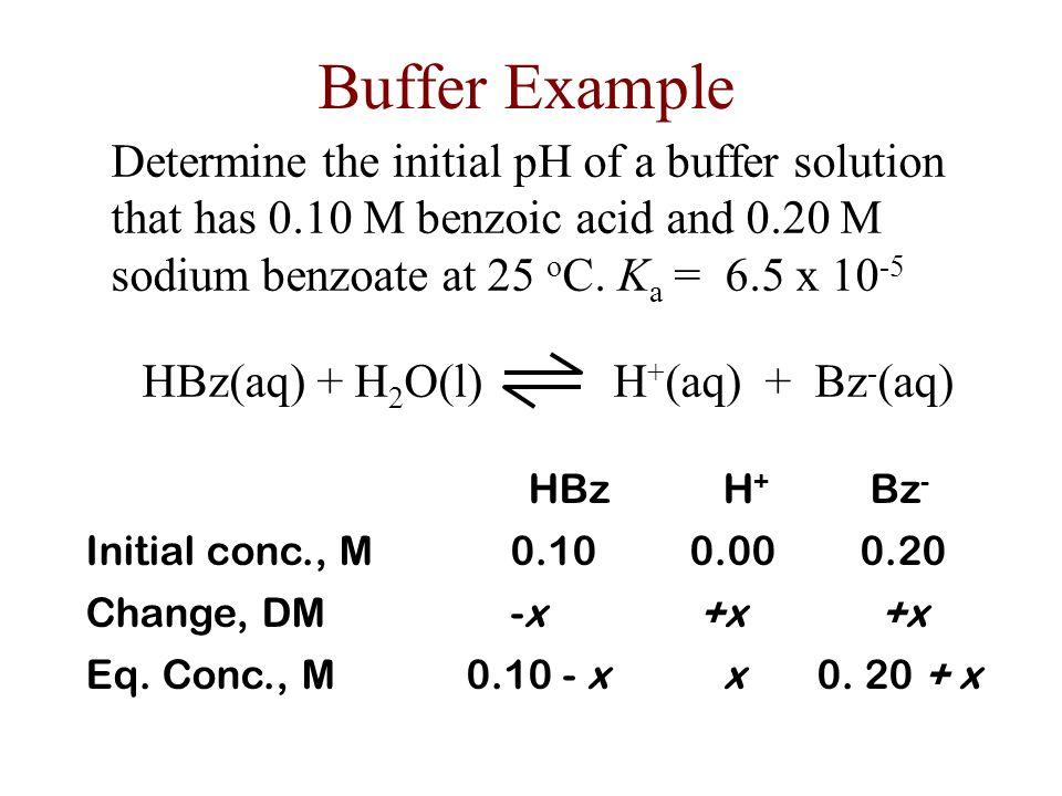 HBz(aq) + H2O(l) H+(aq) + Bz-(aq)