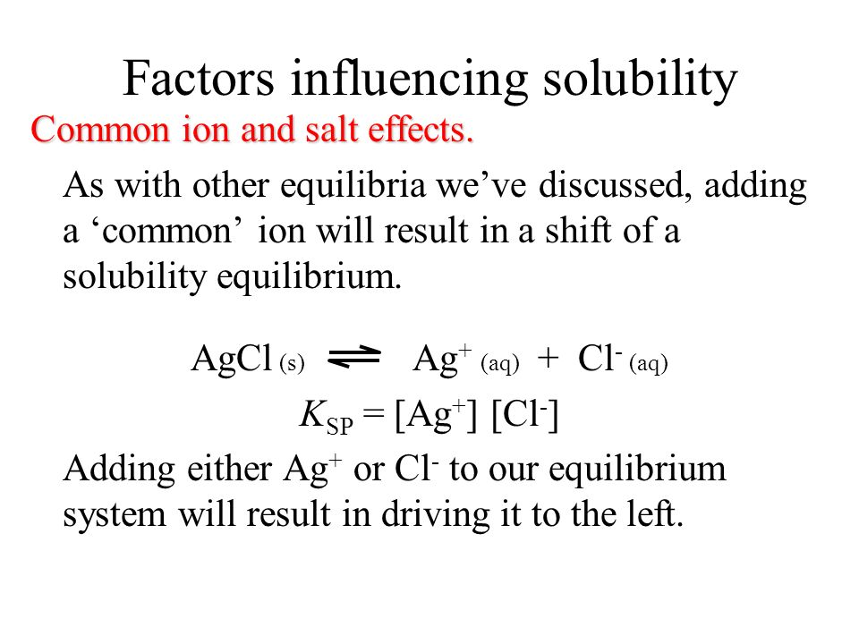 Factors influencing solubility