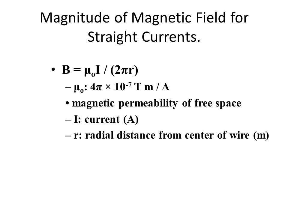 Magnitude of Magnetic Field for Straight Currents.