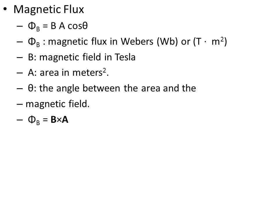 Magnetic Flux ΦB = B A cosθ