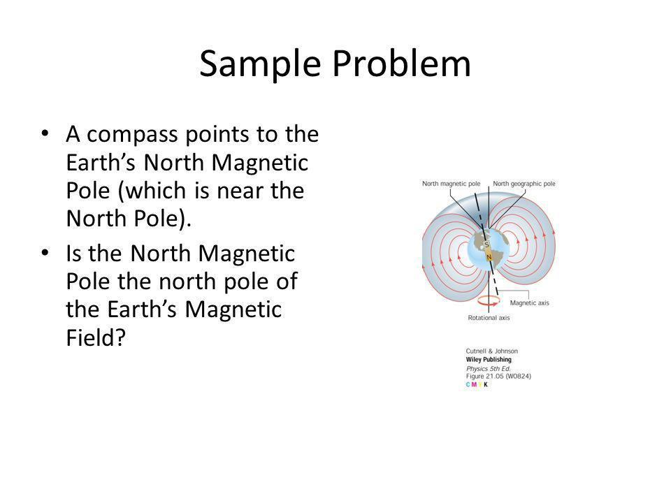 Sample Problem A compass points to the Earth's North Magnetic Pole (which is near the North Pole).