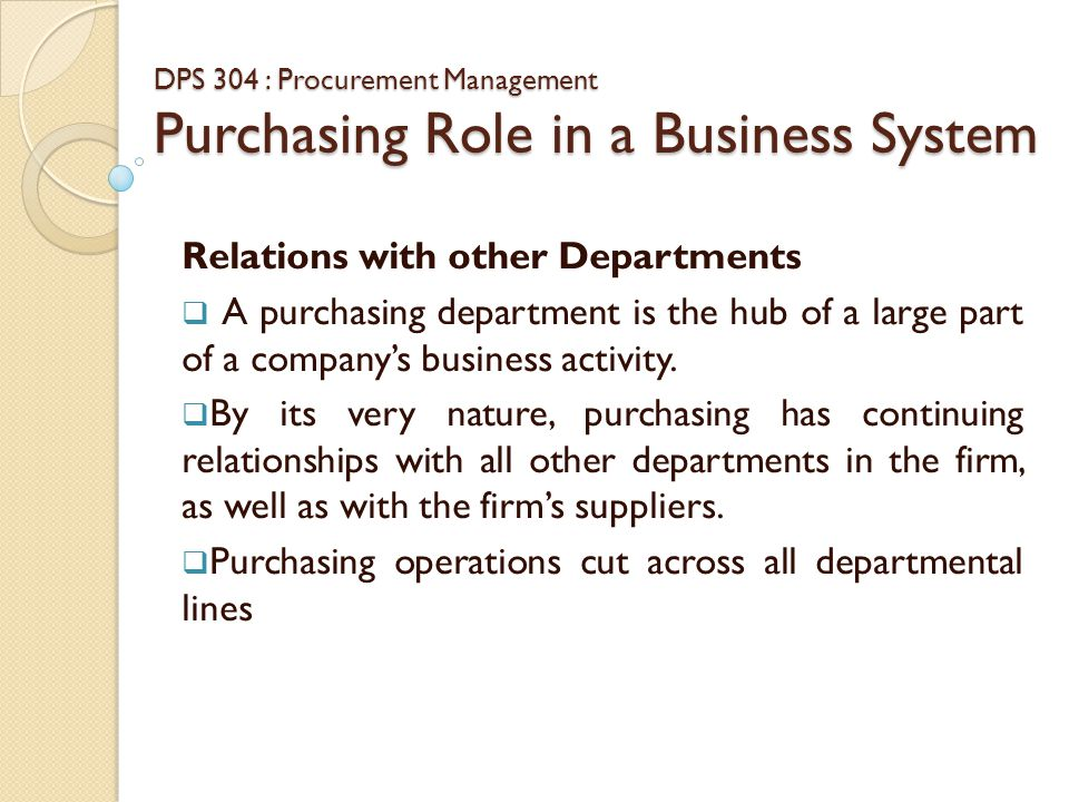 purchasing relationship with other department