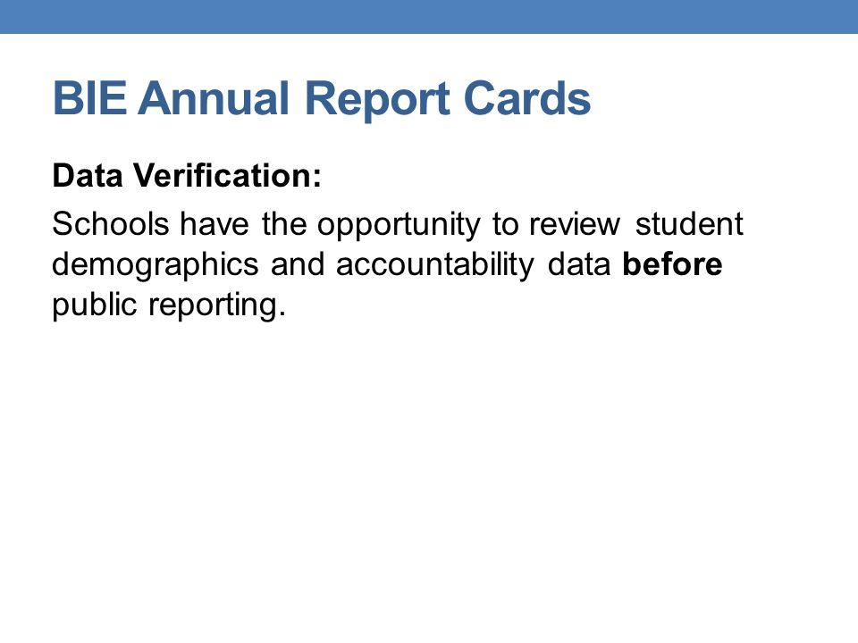 BIE Annual Report Cards