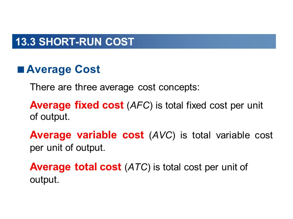 Average Cost 13.3 SHORT-RUN COST