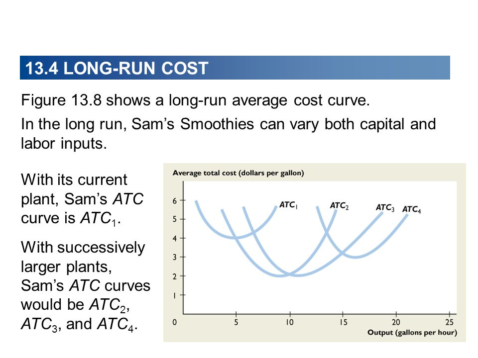 13.4 LONG-RUN COST Figure 13.8 shows a long-run average cost curve.