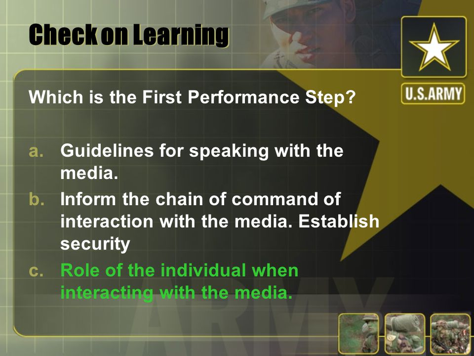 Check on Learning Which is the First Performance Step