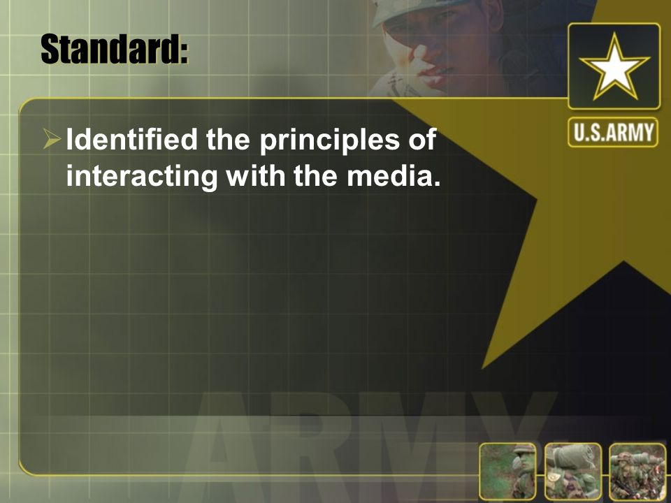 Standard: Identified the principles of interacting with the media.