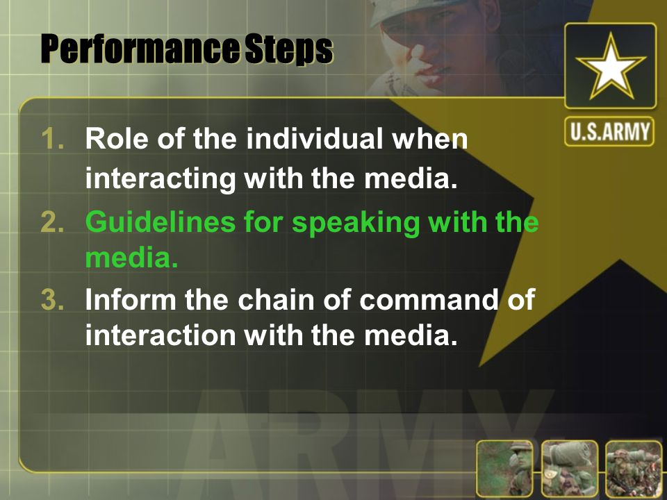Performance Steps Role of the individual when interacting with the media. Guidelines for speaking with the media.