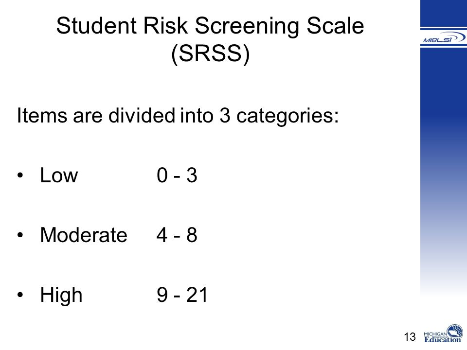 Student Risk Screening Scale (SRSS)