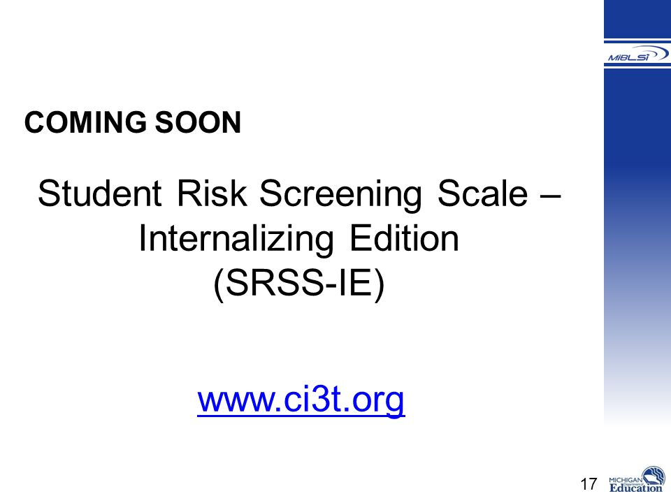 Student Risk Screening Scale – Internalizing Edition