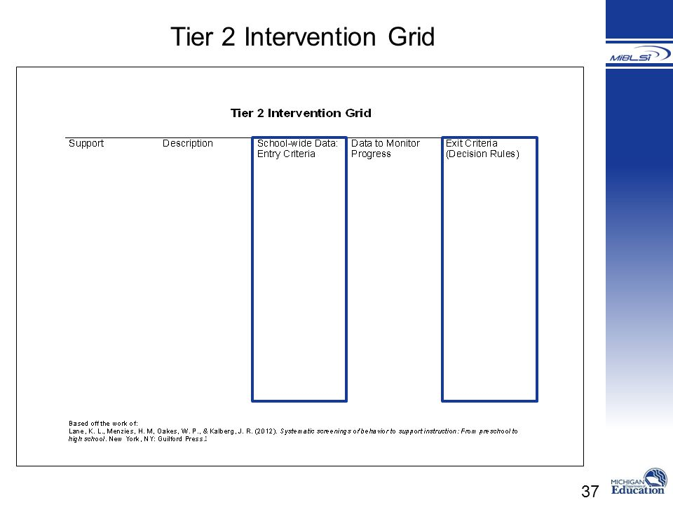 Tier 2 Intervention Grid