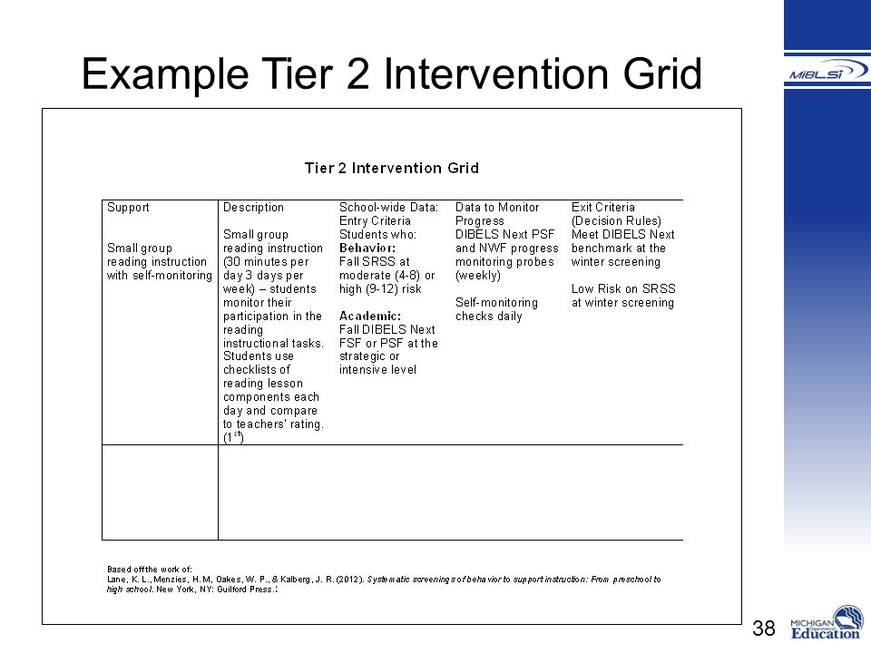 Example Tier 2 Intervention Grid