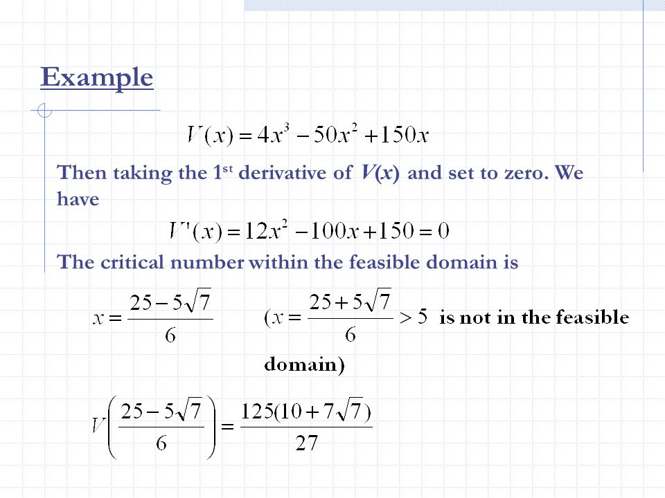 Example Then taking the 1st derivative of V(x) and set to zero.