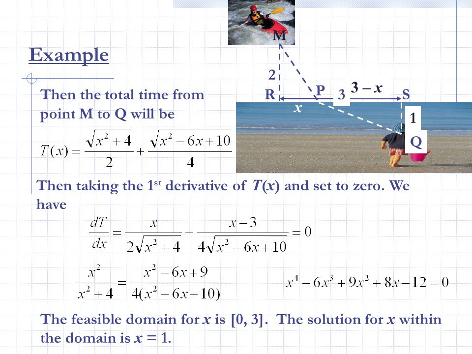 Example M 2 3 – x P Then the total time from point M to Q will be R 3