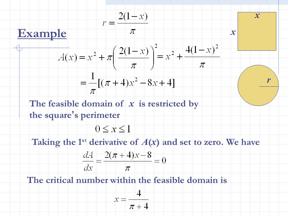 x Example. x. r. The feasible domain of x is restricted by the square's perimeter. Taking the 1st derivative of A(x) and set to zero. We have.