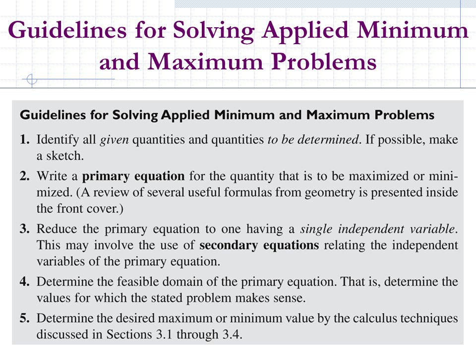 Guidelines for Solving Applied Minimum and Maximum Problems