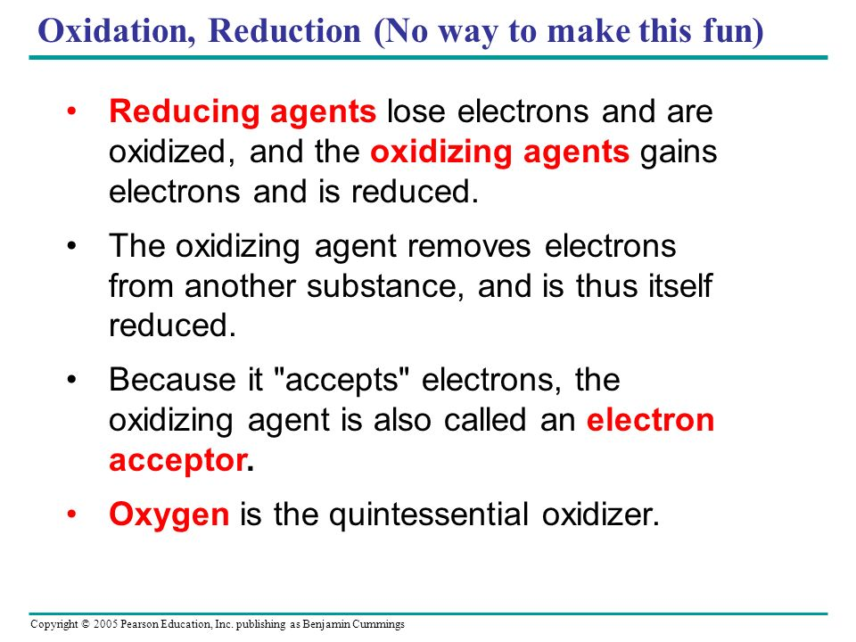 Oxidation, Reduction (No way to make this fun)