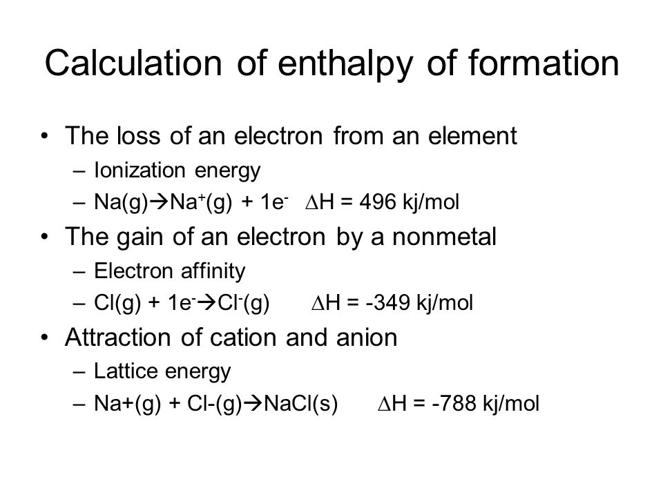 Calculation of enthalpy of formation