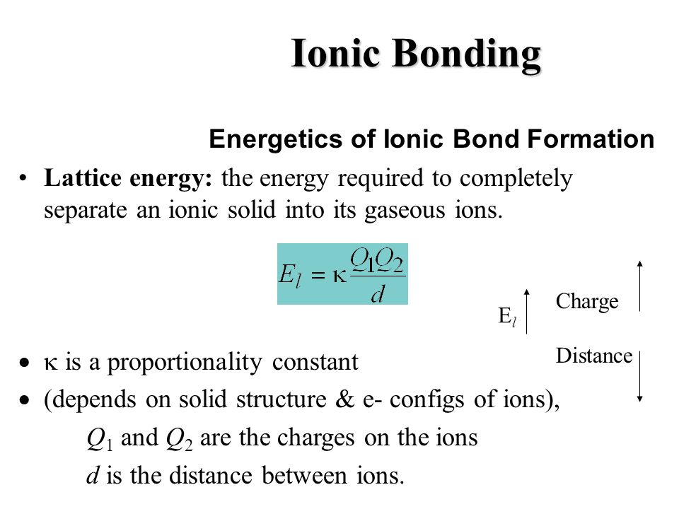 Ionic Bonding Energetics of Ionic Bond Formation