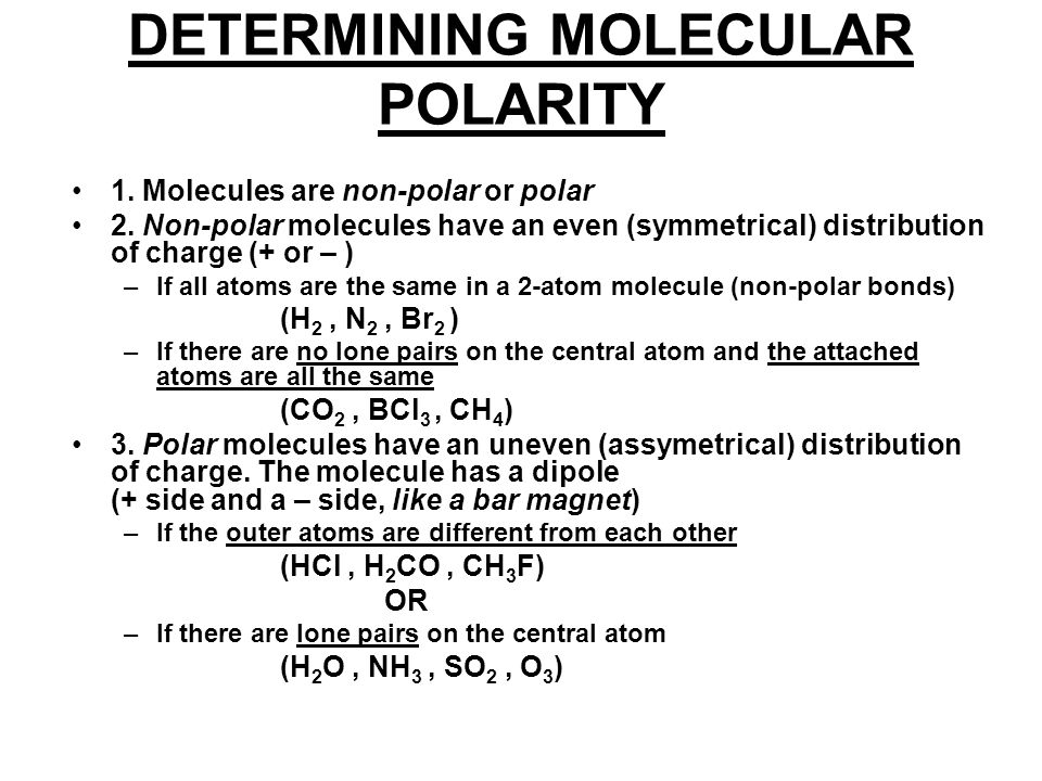DETERMINING MOLECULAR POLARITY