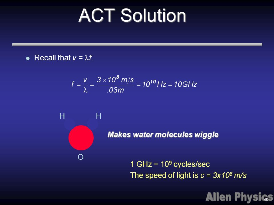 ACT Solution Recall that v = lf. H Makes water molecules wiggle O