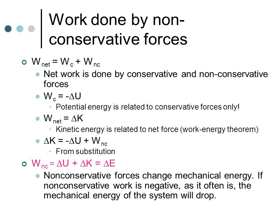 Work done by non-conservative forces
