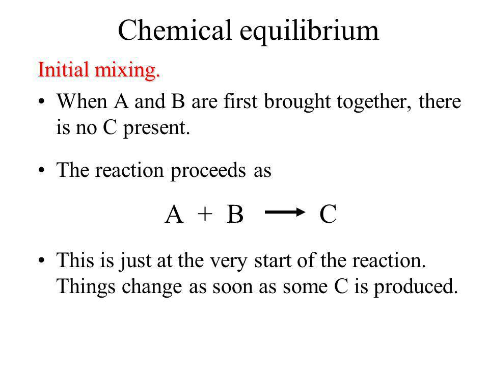 Chemical equilibrium A + B C Initial mixing.