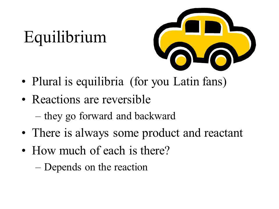 Equilibrium Plural is equilibria (for you Latin fans)