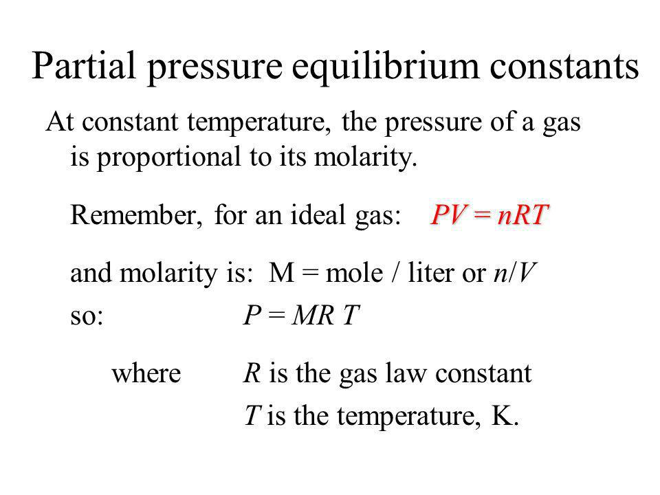 Partial pressure equilibrium constants