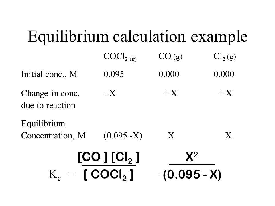 Equilibrium calculation example