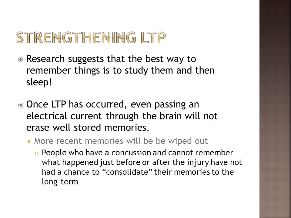 Strengthening LtpResearch suggests that the best way to remember things is to study them and then sleep!