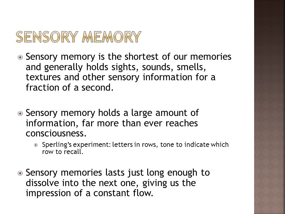 what is sensory memory Definition of sensory memory in the definitionsnet dictionary meaning of sensory memory what does sensory memory mean information and translations of sensory memory in the most comprehensive dictionary definitions resource on the web.