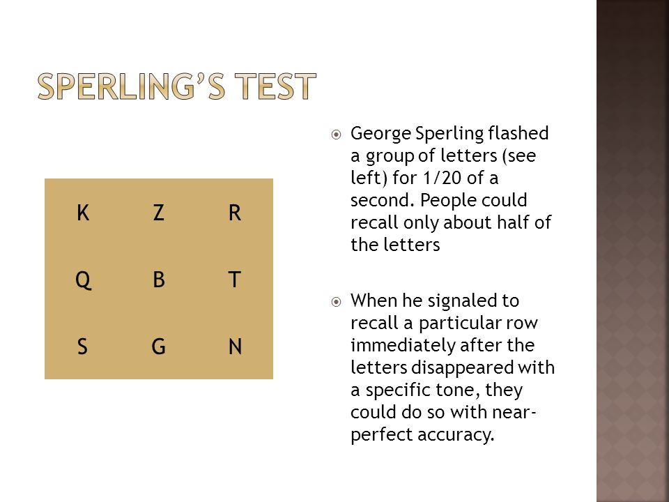 Sperling's Test K Z R Q B T S G N