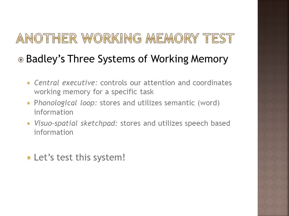 Another working memory test